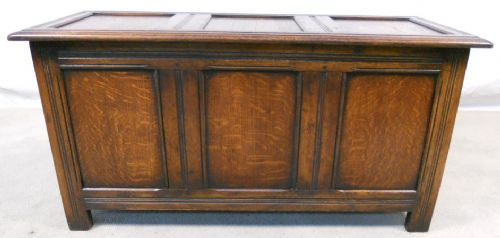 Antique Style Oak Panelled Blanket Chest - SOLD